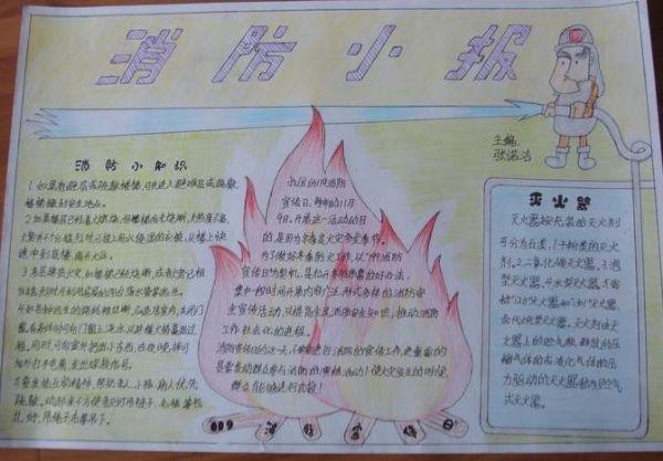 三年级小学生消防小报消防安全手抄报花边设计简单又