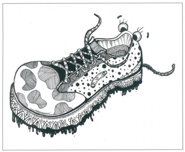 """""""鞋""""的结构线不太明确,容易分不清楚""""鞋""""的结构,因此在绘画的图片"""