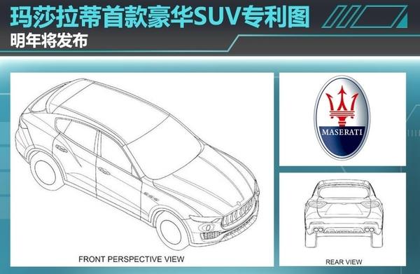 玛莎拉蒂首款豪华SUV专利图明年将发布