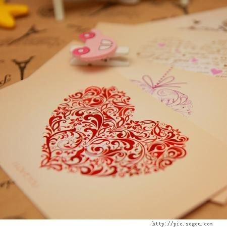 ; 明信片批发; 爱的礼物心型 明信片/卡片 情人节 每套4张/批发