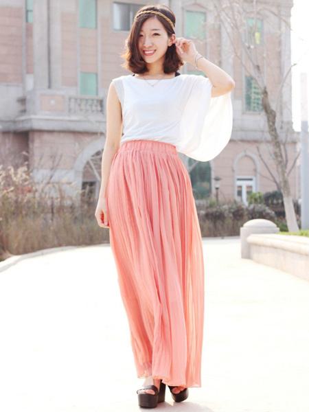 粉色长裙 雪纺,雪纺长裙