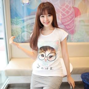 韩国正品代购 可爱大眼睛猫咪短袖t恤