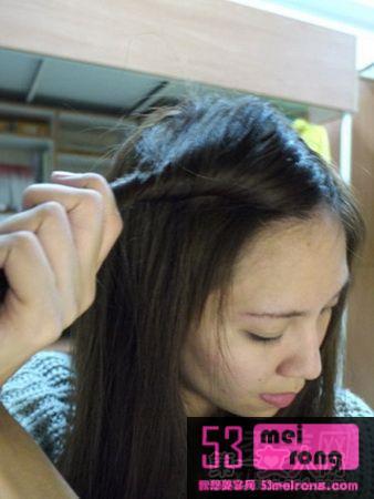 女生齐刘海发型扎法步骤图解