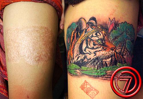 学生妹滴膝盖覆盖疤痕纹身