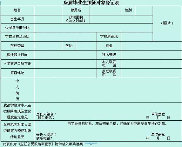 【大学生恋爱】 应届高校毕业生预征对象登记表由一起去留学 ( www.