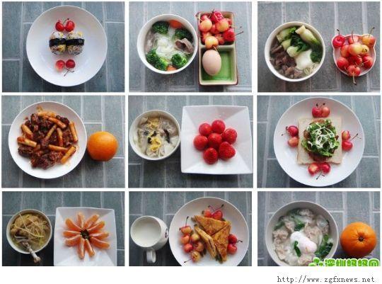 多种各式各样的早餐